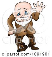 Clipart Senior Grandpa Waving And Using A Cane Royalty Free Vector Illustration
