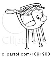 Clipart Outline Of A Charcoal Grill Character Royalty Free Vector Illustration