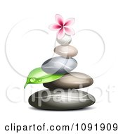 Clipart Hot Stone Massage Spa Stones With A Dewy Leaf And Frangipani Royalty Free Vector Illustration by Oligo #COLLC1091909-0124