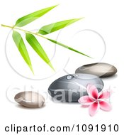 Clipart Hot Stone Massage Spa Stones With Bamboo And A Frangipani Royalty Free Vector Illustration