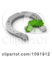 Clipart 3d St Patricks Day Clover And Lucky Horseshoe Royalty Free CGI Illustration
