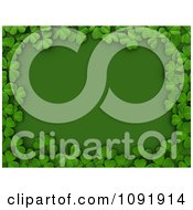 Clipart 3d Border Of St Patricks Day Shamrocks Over Green Copyspace Royalty Free CGI Illustration