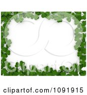 3d Border Of St Patricks Day Clovers Over White Copyspace