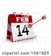 Clipart 3d Cupids Arrow On A Valentines Day Feb 14 Desk Calendar Royalty Free CGI Illustration by BNP Design Studio