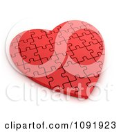 Clipart 3d Completed Red Puzzle Heart Royalty Free CGI Illustration by BNP Design Studio
