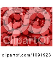 Clipart Background Of 3d Red Hearts Royalty Free CGI Illustration