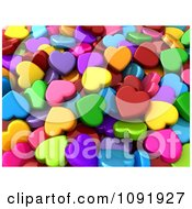 Clipart Background Of 3d Colorful Hearts Royalty Free CGI Illustration