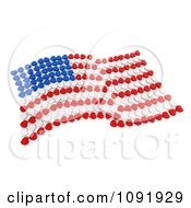 3d Wavy American Flag Made Of Blue White And Red Hearts