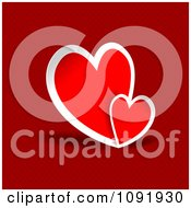 Clipart Two Hearts Over A Red Pattern Royalty Free Vector Illustration