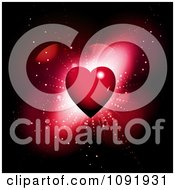 Clipart 3d Red Heart Burst With Flares On Black Royalty Free Vector Illustration
