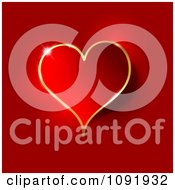 Clipart 3d Red Heart With Gold Trim And A Light Flare Royalty Free Vector Illustration