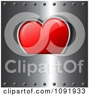 Clipart 3d Red Shiny Heart Tucked In A Metal Sleeve With Rivets Royalty Free Vector Illustration