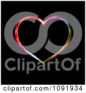 Clipart Neon Colored Heart On Black Royalty Free Vector Illustration