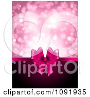 Clipart 3d Pink Valentines Day Gift Ribbon With Copyspace And Pink Sparkles Royalty Free Vector Illustration by KJ Pargeter
