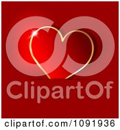 Clipart 3d Red And Gold Heart Tucked In A Sleeve Royalty Free Vector Illustration