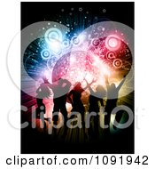 Clipart Silhouetted People Dancing Over A Disco Burst With Circles And Stars Royalty Free Vector Illustration