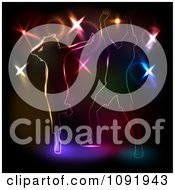 Clipart Two People Dancing Against Colorful Disco Lights On Black Royalty Free Vector Illustration