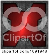 Clipart 3d Brushed Red Metal Cross Plaque And Cement Royalty Free CGI Illustration