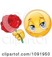 Clipart Romantic Valentine Emoticon Holding Out A Rose Royalty Free Vector Illustration
