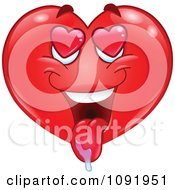 Clipart Valentine Heart Emoticon Drooling Royalty Free Vector Illustration