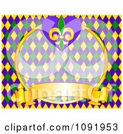 Clipart Yellow Green And Blue Mardi Gras Fleur De Lis Background With Copyspace Royalty Free Vector Illustration by Pushkin