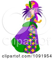 Clipart Mardi Gras Woman Holding A Mask Over Her Face Royalty Free Vector Illustration by Pushkin