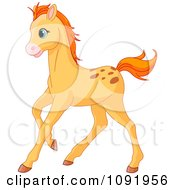 Clipart Cute Orange Pony Running Royalty Free Vector Illustration by Pushkin