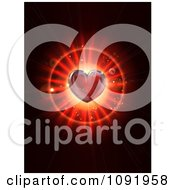 Clipart 3d Red Heart Over A Burst On Black Royalty Free Vector Illustration