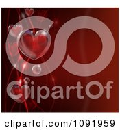 Clipart 3d Bubble Hearts And Waves On Red Royalty Free Vector Illustration
