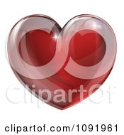 Clipart 3d Red Glass Heart Royalty Free Vector Illustration by AtStockIllustration
