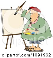 Clipart Chubby Artist Painter Working On A Blank Canvas Royalty Free Vector Illustration by djart