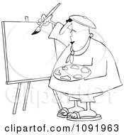 Clipart Outlined Artist Painter Working On A Blank Canvas Royalty Free Vector Illustration