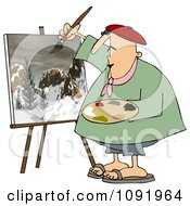 Clipart Chubby Artist Painter Working On A Winter Mountain Scene Royalty Free Vector Illustration