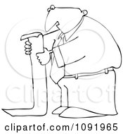 Clipart Outlined Businessman Reading A Long To Do List Royalty Free Vector Illustration