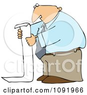 Clipart Business Man Reading A Long To Do List Royalty Free Vector Illustration by djart