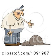 Clipart Man Yelling At A Bad Dog - Royalty Free Vector Illustration by Dennis Cox