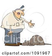 Clipart Man Yelling At A Bad Dog Royalty Free Vector Illustration