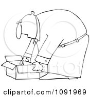Clipart Outlined Businessman Bending Over To Pick Up An Open Box Royalty Free Vector Illustration