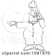 Clipart Outlined Worker Pointing Left And Talking On A Cell Phone Royalty Free Vector Illustration
