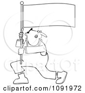 Clipart Outlined Man Shouting And Carrying A Flag Royalty Free Vector Illustration