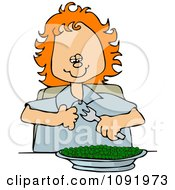 Happy Red Haired Girl Eating A Bowl Of Peas