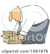 Clipart Business Man Bending Over To Pick Up An Open Box Royalty Free Vector Illustration