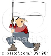 Clipart Man Shouting And Carrying A Flag Royalty Free Vector Illustration