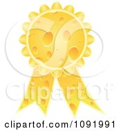 Clipart 3d Cheese Award Ribbon Medal Royalty Free Vector Illustration