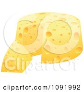 Clipart 3d Round Cheese And Wedge Royalty Free Vector Illustration by Andrei Marincas