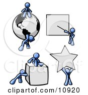 Blue Men With A Globe Presentation Board Cube And Star Clipart Illustration