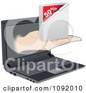 Clipart Hand Emerging From A Laptop With A Fifty Percent Off Software Box Royalty Free Vector Illustration by Andrei Marincas
