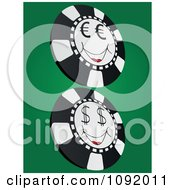 Clipart Smiling Euro And Dollar Poker Chips Royalty Free Vector Illustration by Andrei Marincas