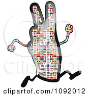 Clipart National Flag Victory Hand Character Running Royalty Free Vector Illustration by Andrei Marincas
