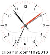 Clipart 3d Red White And Black Wall Clock Royalty Free Vector Illustration